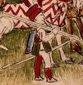 RC-C-07084 folio 1 recto Accampamento del Re  Alfonso d'Aragona dettaglio fante con scudo piccolo e tre lance