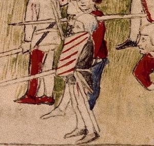 RC-C-07084 folio 1 recto Duello di Sigismondo e Alfonso fante che si copre con lo scudo piccolo che scaglia una lancia 2