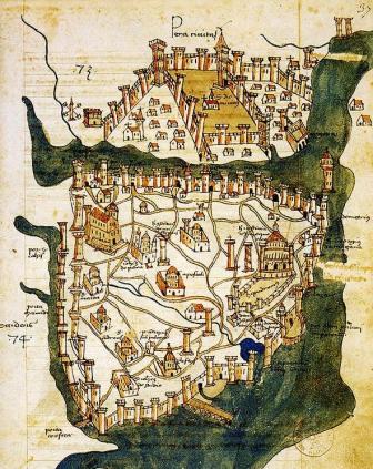 Pianta di Costantinopoli, 1422. BNF, Parigi Cristoforo Buondelmonti, 1386 – 1430,
