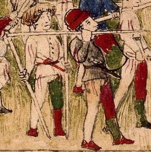 folio 1 recto Duello di Sigismondo e Alfonso fante che si copre con lo scudo piccolo che scaglia una lancia