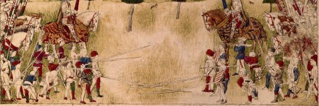 hesperis arsenal folio 1 recto Accampamento del Re  Alfonso d'Aragona(sopra) Duello di Sigismondo e Alfonso (sotto) - dettaglio lanze longhe