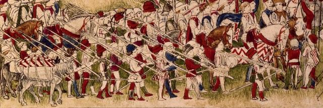 hesperis arsenal, folio 1 recto Accampamento del Re  Alfonso d'Aragona(sopra) Duello di Sigismondo e Alfonso (sotto) -dettaglio lanze longhe