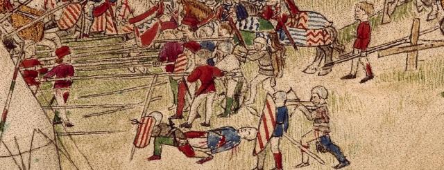 hesperis arsenal, folio 112 recto Combattimento - dettaglio lanze longhe