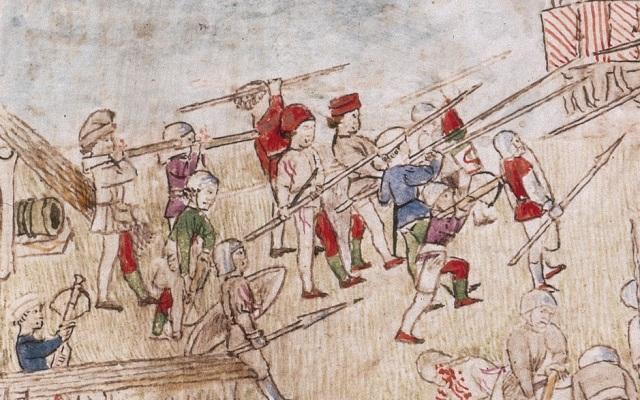 hesperis arsenal, folio 112 verso Assedio della torre di Vada - dettaglio lanze longhe