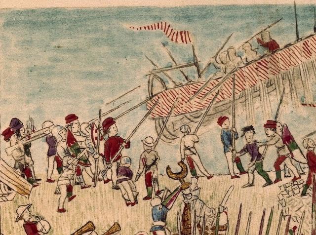 hesperis arsenal, folio 113 recto Incendio della torre di Vada - dettaglio lanze longhe