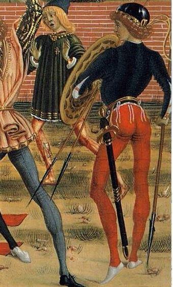 Pietro Perugino e la sua bottega. Storie di San Bernardino 1473. Dettaglio lanciotti