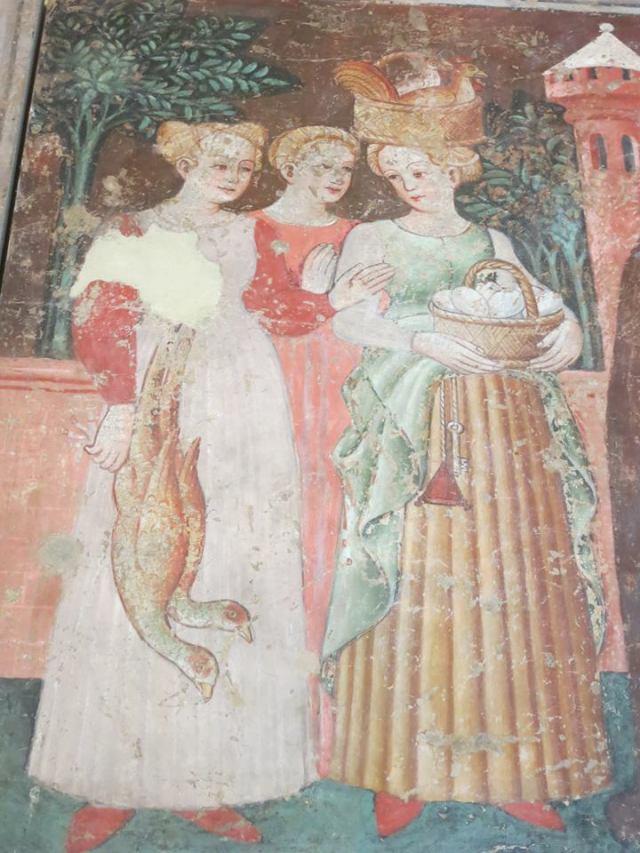 affreschi di Roncoscaglia, rocca, Sestola, dettaglio di donne